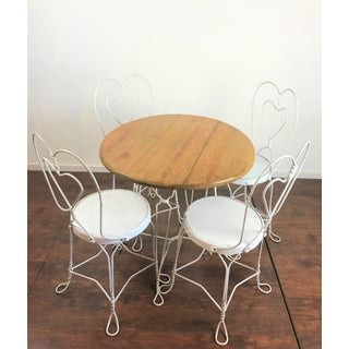 Vintage Mid-Century Modern Sweetheart Cafe French Bistro/Ice Cream Parlor Set - 5 Pieces Preview