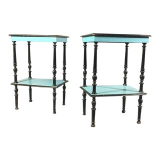 Pair 19th Century Teal/Black Painted English Side Tables