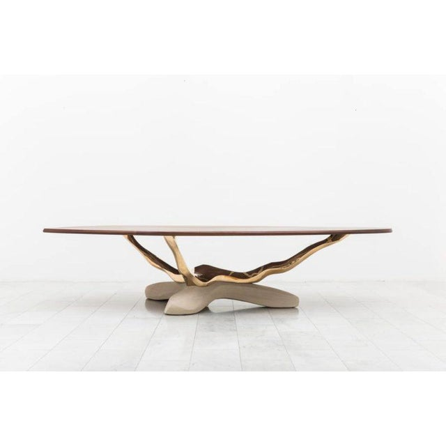 2010s Markus Haase, Bronze, Walnut, and Limestone Dining Table, Usa, 2018 For Sale - Image 5 of 13