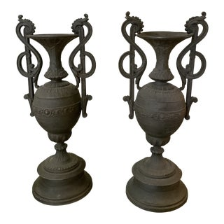 Antique 1920s Neoclassical Bronze Urns - a Pair For Sale