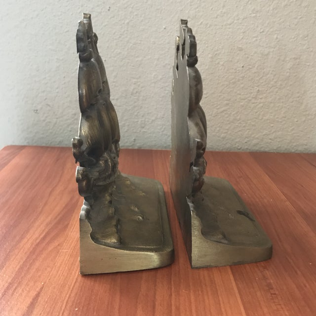 Mediterranean Vintage Brass Schooner Ship Nautical Bookends - a Pair For Sale - Image 3 of 10