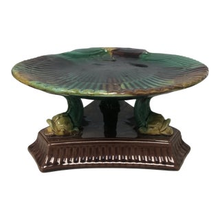 Antique Majolica Shell & Dolphin Cake Stand For Sale