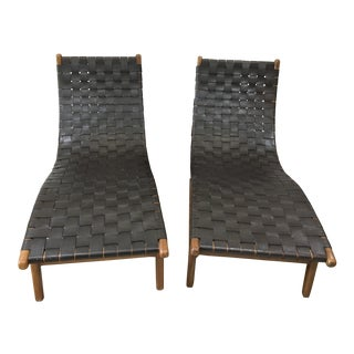 Mid Century Vintage Woven Leather Danish Chaise Lounge Chairs - a Pair