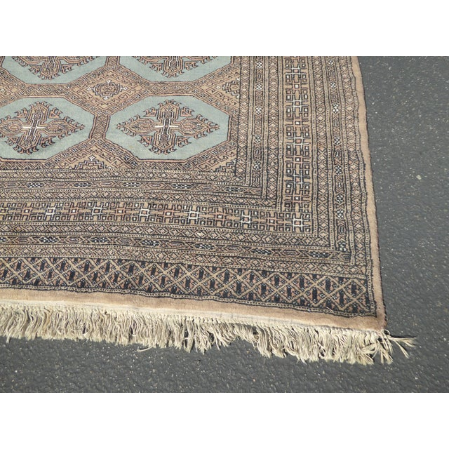 Vintage Mid-Century Handwoven Wool Pakistan Bokhara Area Rug - 4′3″ × 6′7″ For Sale In Los Angeles - Image 6 of 12