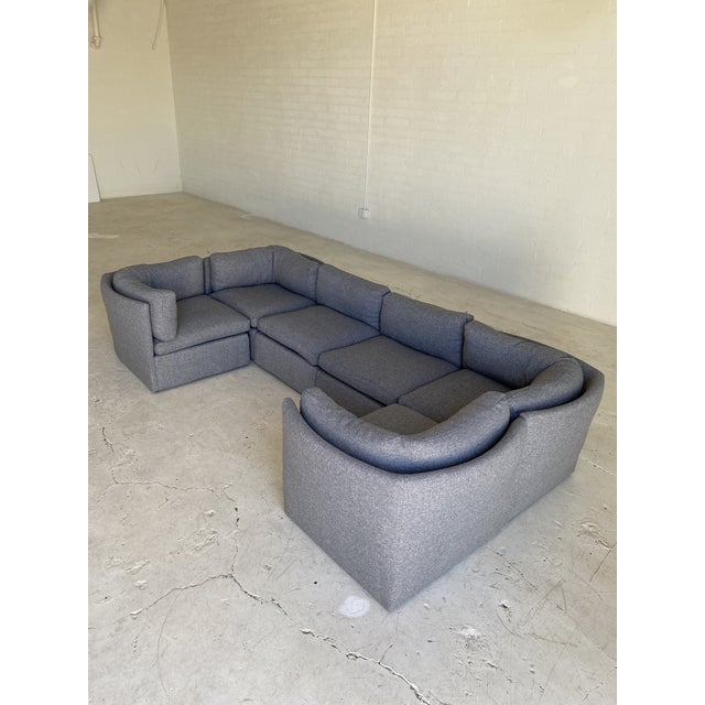 Dove Gray Milo Baughman Scalloped Back Modular Sectional Sofas - A Pair For Sale - Image 8 of 10
