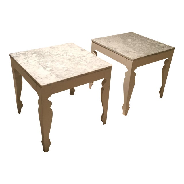 Marble & Wood End Tables - A Pair - Image 1 of 5