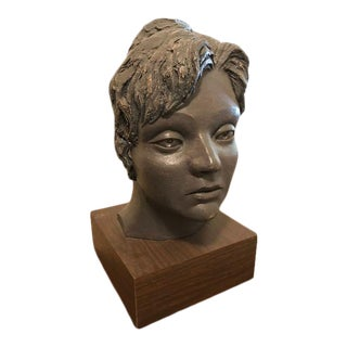 Late 20th Century Theodore F. McFall Bronze Bust Sculpture For Sale