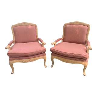 Carved Blonde Wood Bergere Chairs- a Pair For Sale