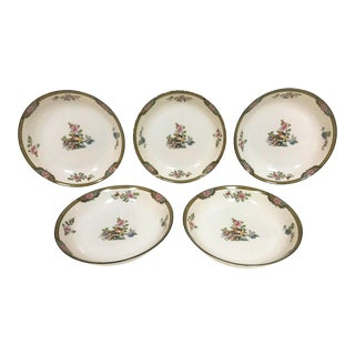 "Japanese Noritake Porcelain Soup Bowls in ""Pheasant"" Pattern Circa 1920's - Set of 5 For Sale"