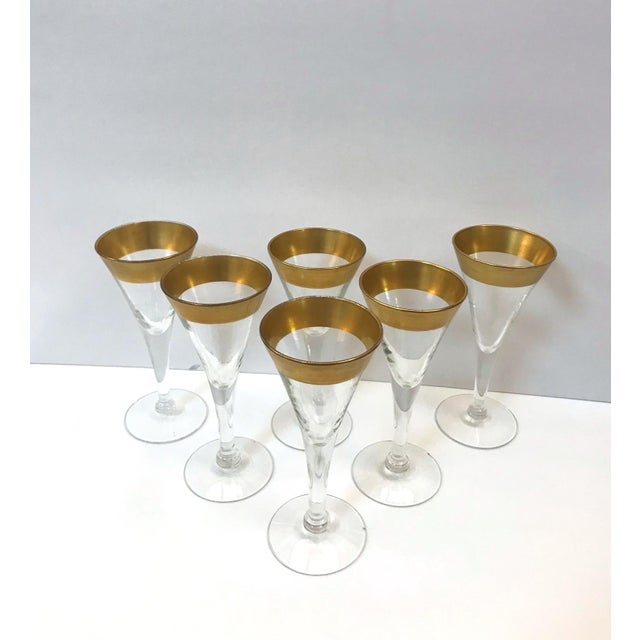 Art Deco Set of Six Crystal Gold Rim Cordial Glasses by Dorothy Thorpe For Sale - Image 3 of 13