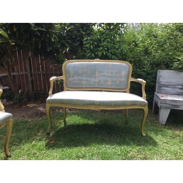 Gold Gilt Italian Louis XVI Settee & Chairs - Set of 3 - Image 3 of 9