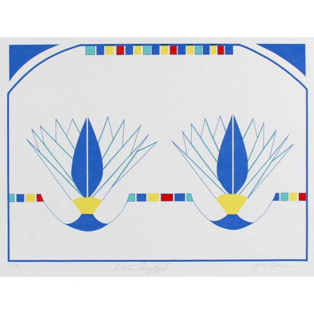"""Contemporary """"Lotus Diptych"""" Minimal Abstract Silkscreen in Blue, Circa 1980s For Sale - Image 3 of 3"""