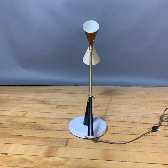 1950s 1950s Italian Desk Lamp, Lacquered Metal & Brass For Sale - Image 5 of 9
