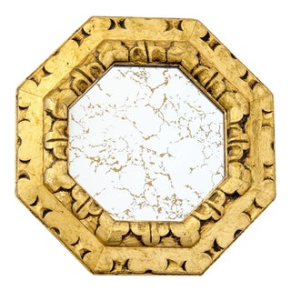 Carved Giltwood Mirror W Gold Veining For Sale