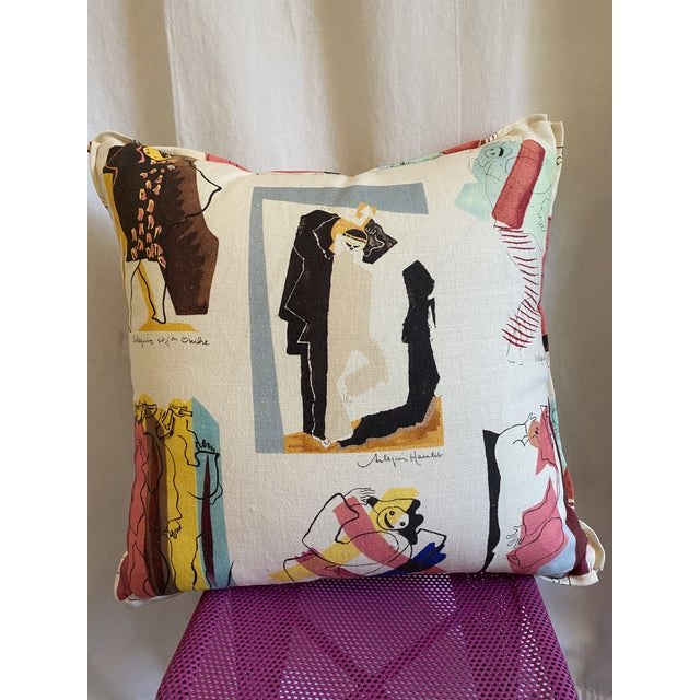 French Pierre Frey Arlequins Vintage Custom Pillow With Butterfly Corners For Sale - Image 3 of 6
