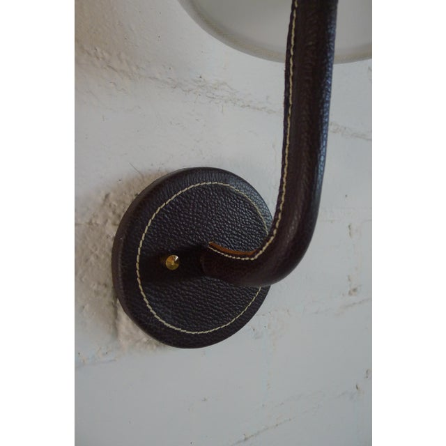 Paul Marra Paul Marra Top-Stitched Leather Wrapped Sconce in Brown For Sale - Image 4 of 7