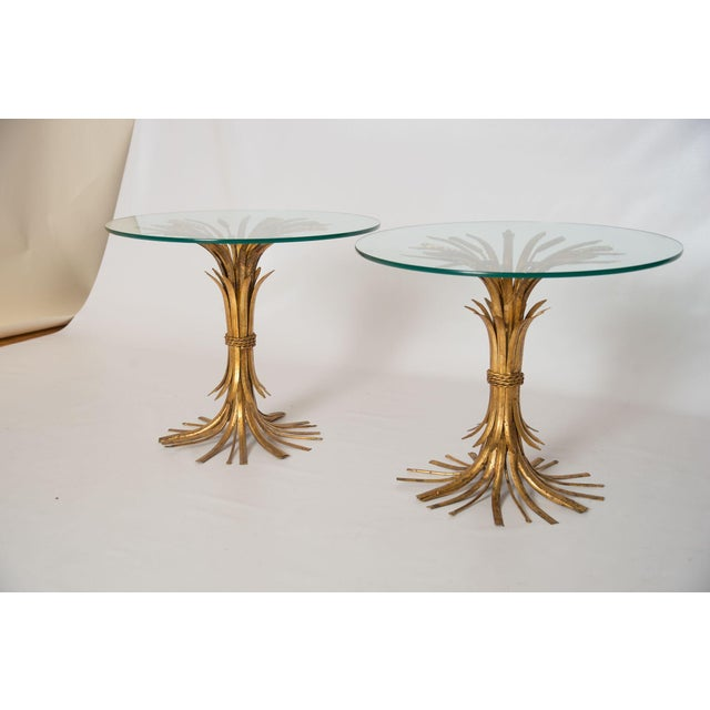 Gold Sheaf of Wheat Side Tables - Pair - Image 2 of 3