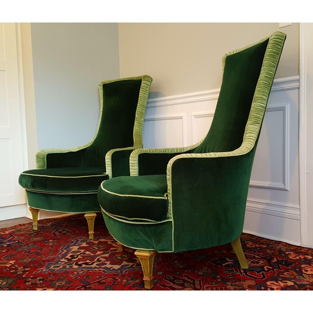 Boho Chic Emerald Green Velvet Club Chairs - A Pair For Sale - Image 3 of 8