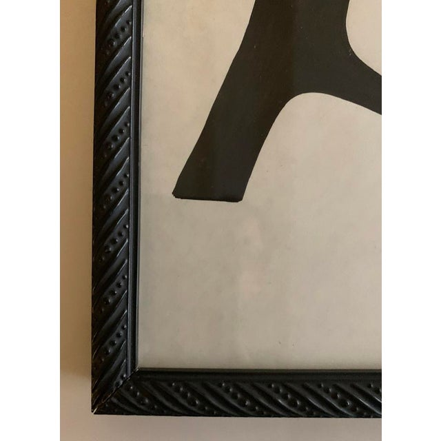 Abstract Original Abstract Black and White Framed Painting For Sale - Image 3 of 3