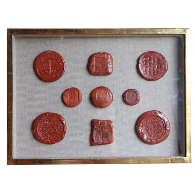 Wax Framed Red Intaglio Wax Seals Collages - a Pair For Sale - Image 7 of 13