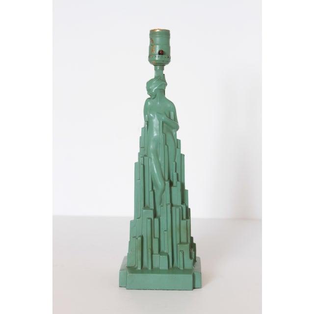 """1920s Machine Age Art Deco Frankart """"Spirit of Modernism"""" Table Lamp #L215, A.V. Frankenberg 1928 For Sale - Image 5 of 11"""