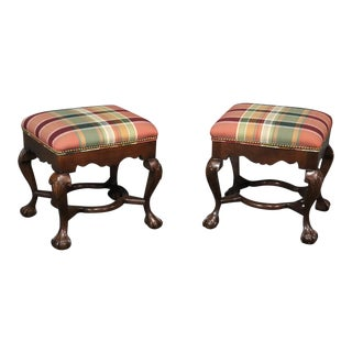 Late 20th Century Sherrill Georgian Style Footstools- A Pair For Sale