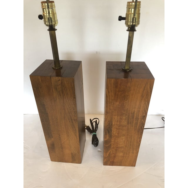 Walnut Block Form Mid-Century Modern Table Lamps -A Pair For Sale - Image 10 of 11
