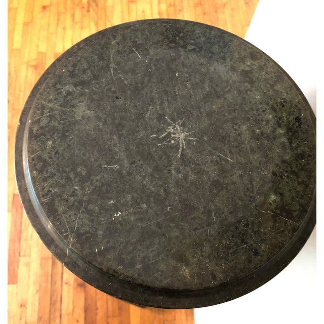 Marble 20th Century Italian Neoclassical Dark Green Marble Pedestal Stand For Sale - Image 7 of 10