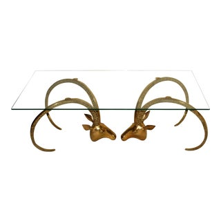 1970s Hollywood Regency Brass Ram Ibex Glass Coffee Table For Sale