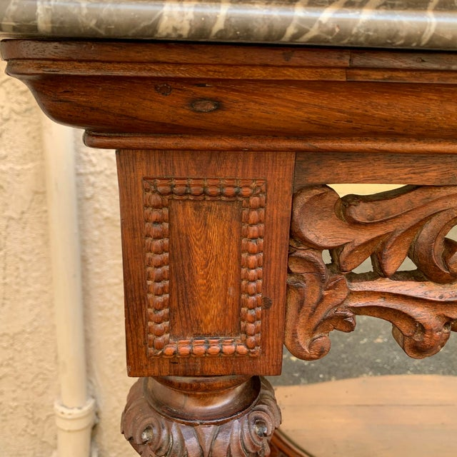 Wood Late 19th Century Victorian Entry Table Console With Marble Top For Sale - Image 7 of 11