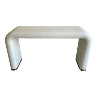Contemporary Ivory and Brass Grass Cloth Waterfall Console For Sale