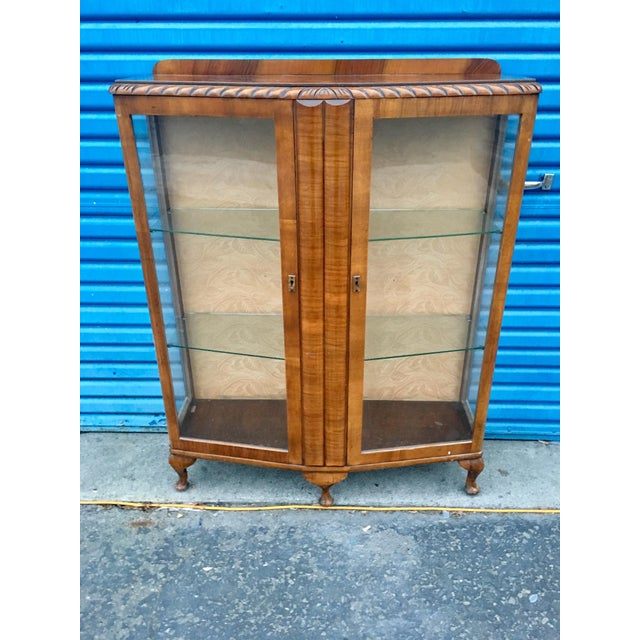 Double door, glass front & sides, French Provincial display case, constructed of solid chestnut & beautiful set of book...