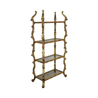 Rococo Style Vintage Gold Gilt Carved 4 Tier Etagere For Sale