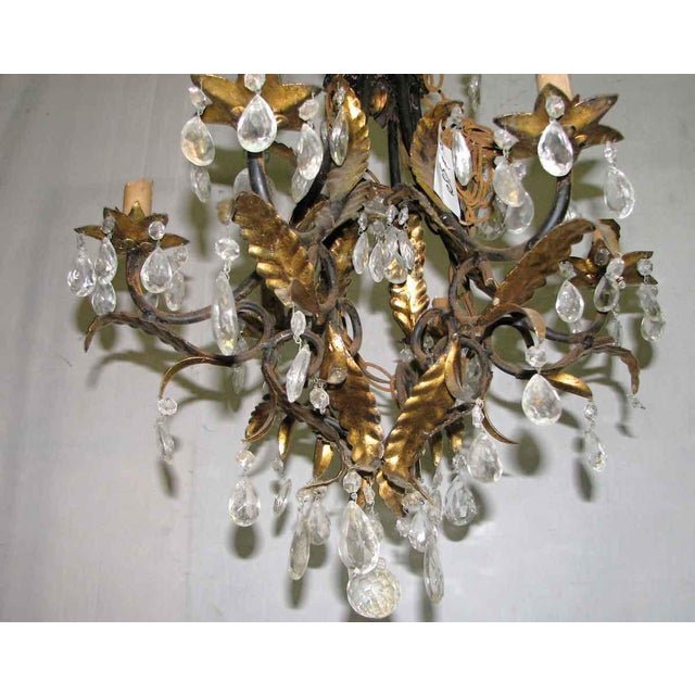 Wrought Iron Brass & Crystal Chandelier For Sale - Image 5 of 8