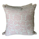 "Image of Custom Designer Fortuny and Velvet 22"" Down Filled Pillows- a Pair For Sale"
