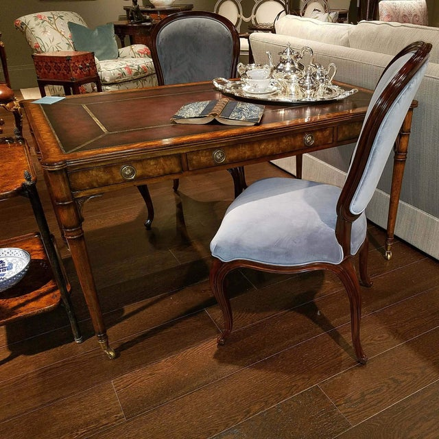 Traditional Mahogany Leather Top Desk For Sale - Image 3 of 5