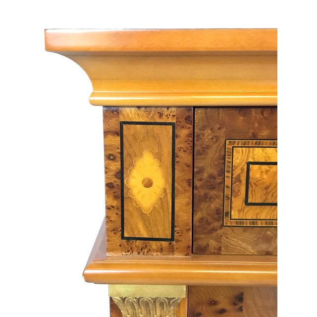20th Century English Style Nightstands With Floral Marquetry- a Pair For Sale - Image 9 of 11