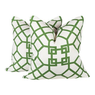 Custom Linen Emerald Lattice Imperial Pillows - A Pair