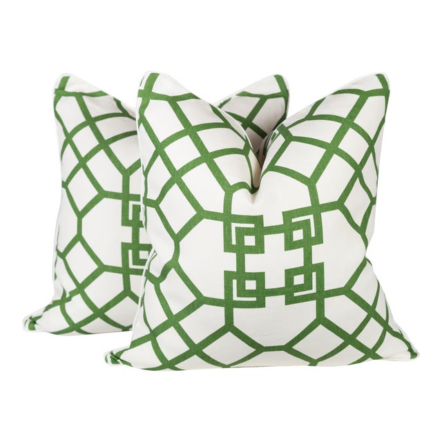 Custom Linen Emerald Lattice Imperial Pillows - A Pair - Image 1 of 4