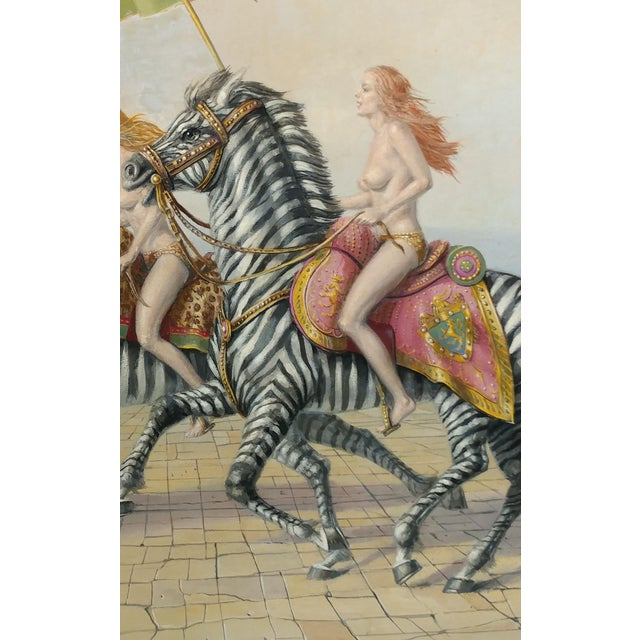 "Raymond Whyte ""Nudes on Zebras"" Surreal Oil Painting - Image 4 of 10"