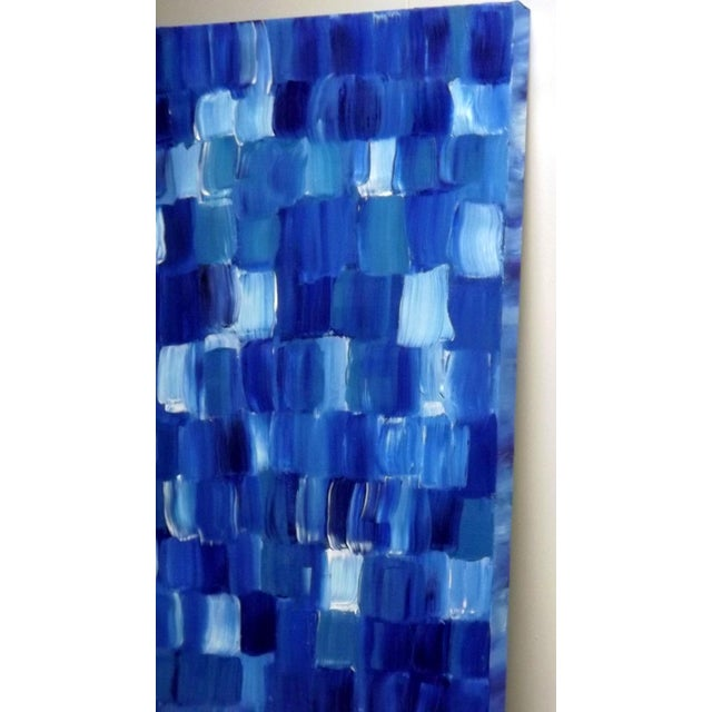 """Blue Thing"" Modern Geometric Crosshatch Painting - Image 4 of 5"
