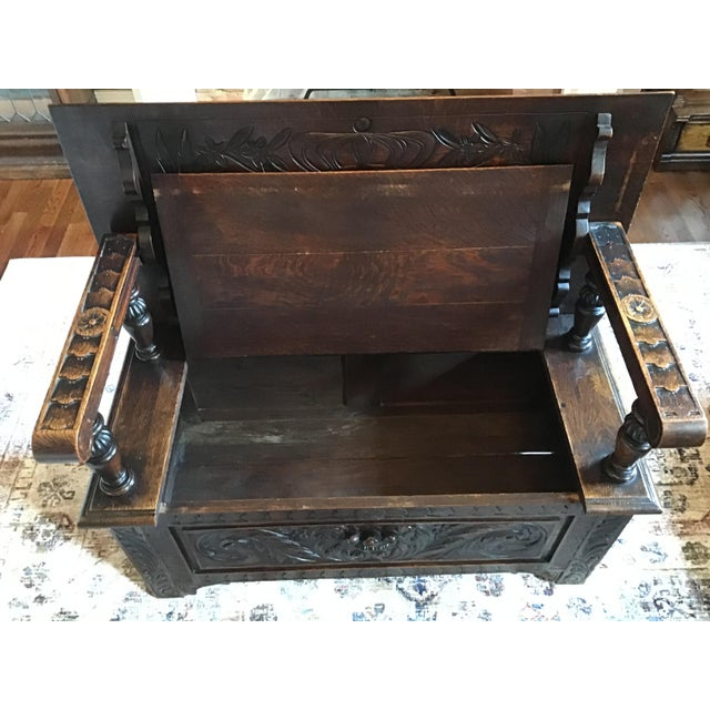 Late 19th Century Antique Brown Monks Bench For Sale - Image 12 of 13