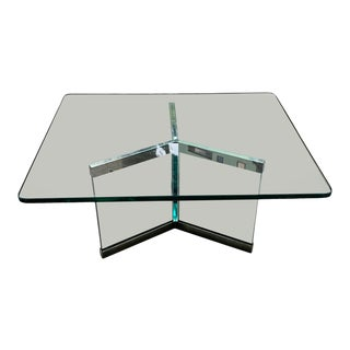 1970s Leon Rosen for Pace Collection Chrome and Glass Coffee Table For Sale