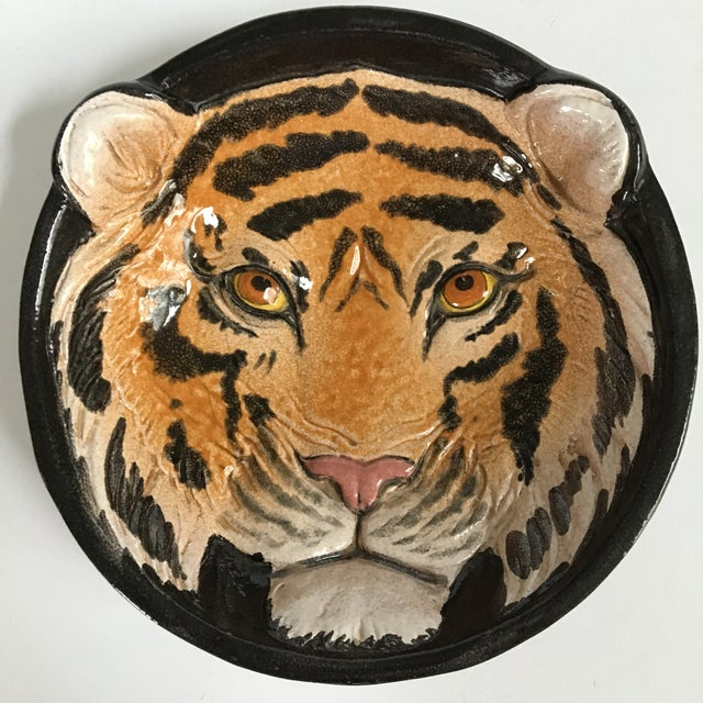 Italian Mid-Century Tiger Face Pottery Bowl/Catchall For Sale - Image 11 of 12