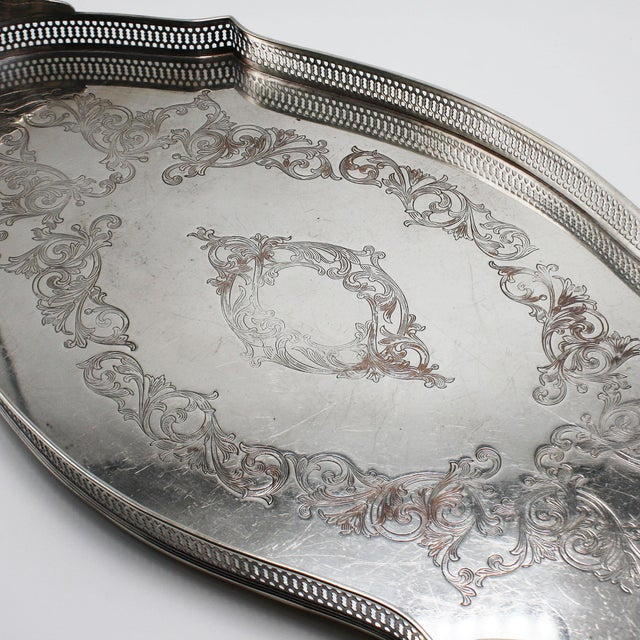 Silver Plated Pierced Tray, C. 1940 For Sale In Dallas - Image 6 of 8