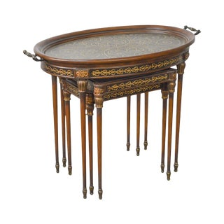 Maitland Smith Regency Style Brass Boulle Inlaid Nesting Tray Top Tables