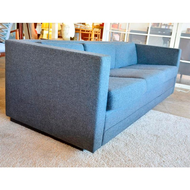 Mid-Century Modern Mid Century Modern Slate Gray Tweed Box Sofa For Sale - Image 3 of 6
