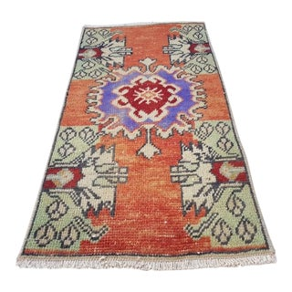 1970s Vintage Miniature Turkish Oushak Yastik Rug - 1′5″ × 2′9″ For Sale