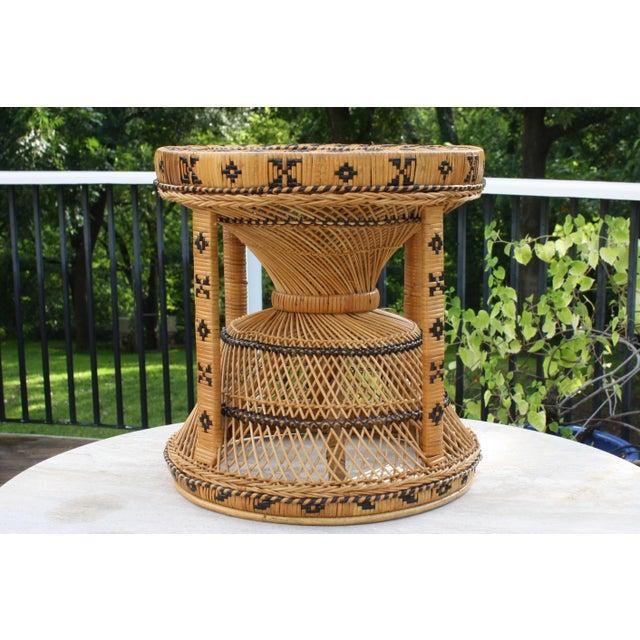 Boho Rattan Coffee Table: Vintage 1970s Boho Chic Hourglass Rattan & Cane Side Table