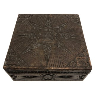 Chip-Carved Dark-Stained Wooden Box For Sale